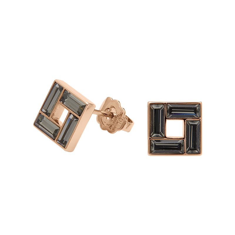 MOSAIC Earrings, rose gold plated, grey