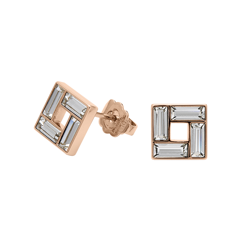 MOSAIC Earrings, rose gold plated, crystal