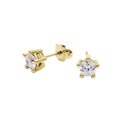 PIXIE Earrings, gold plated, Zirconia