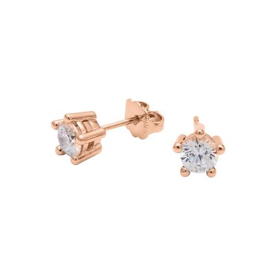 PIXIE Earrings, rose gold plated, Zirconia