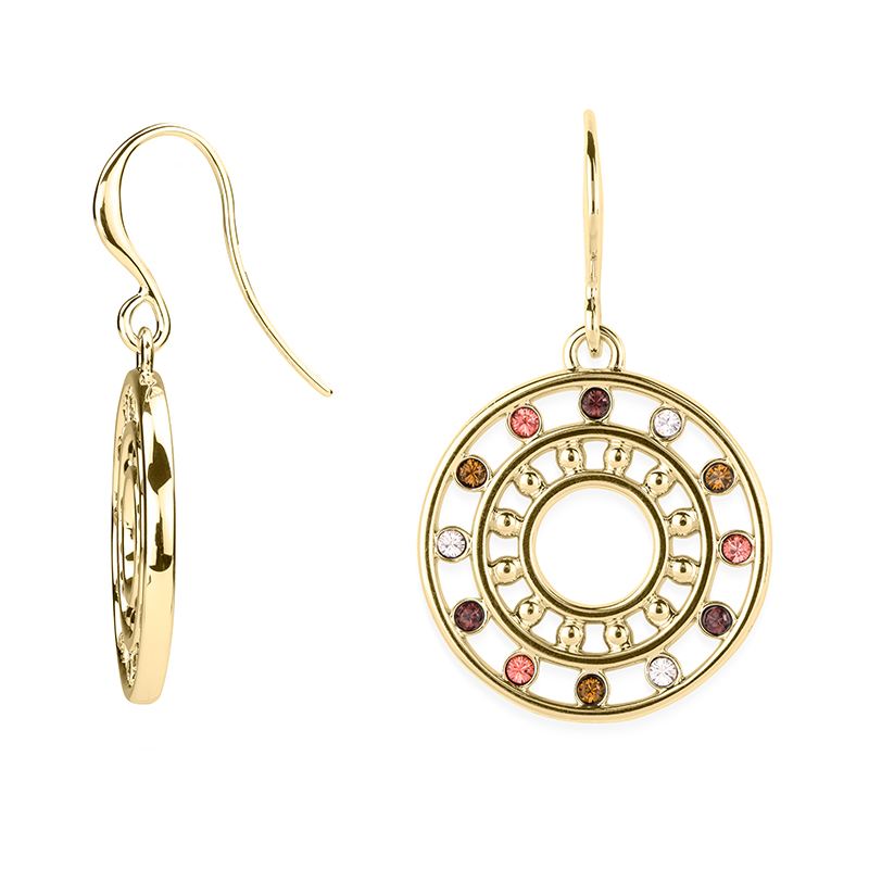 HELIOS Earrings, gold plated, multicoloured