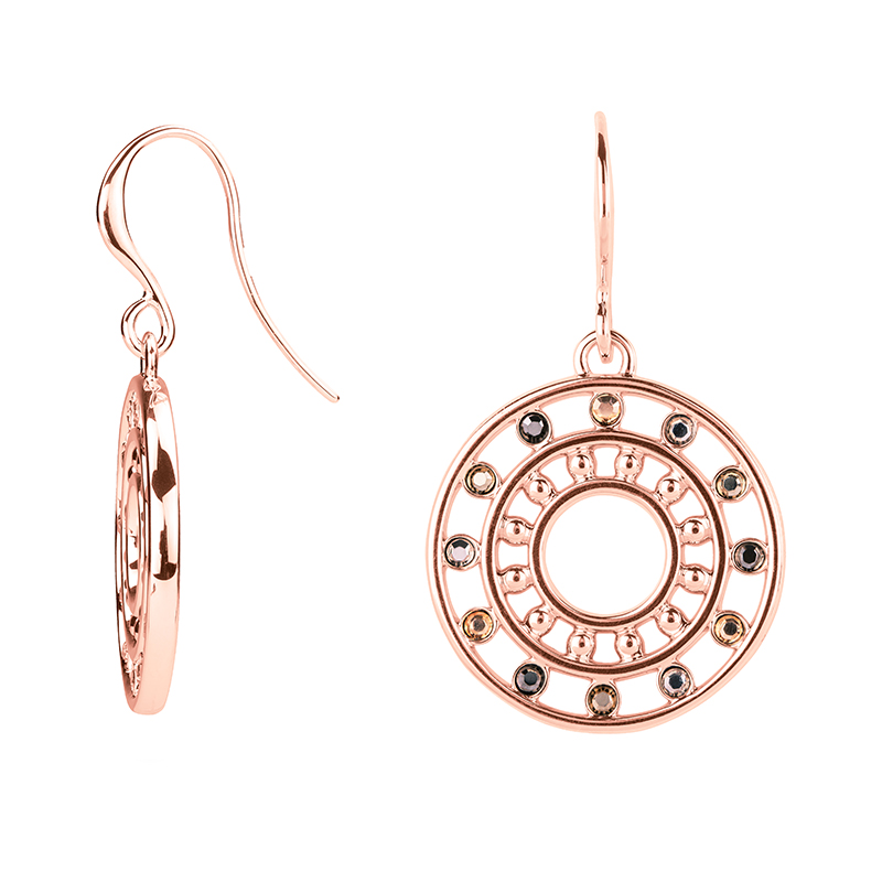 HELIOS Earrings, rose gold plated, multicoloured