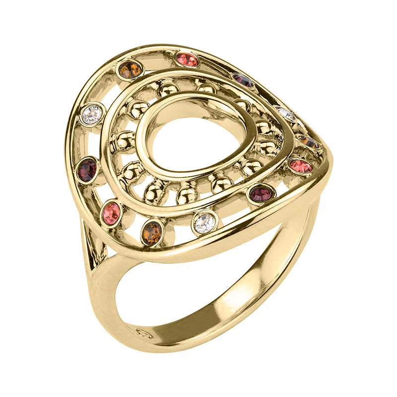 HELIOS Ring, gold plated, multicoloured
