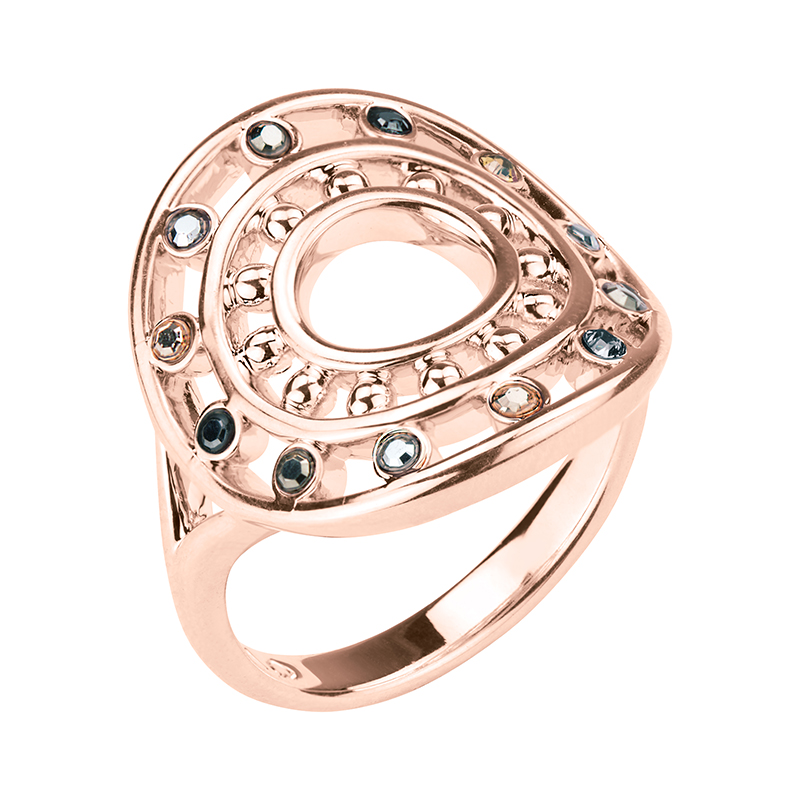 HELIOS Ring, rose gold plated, multicoloured