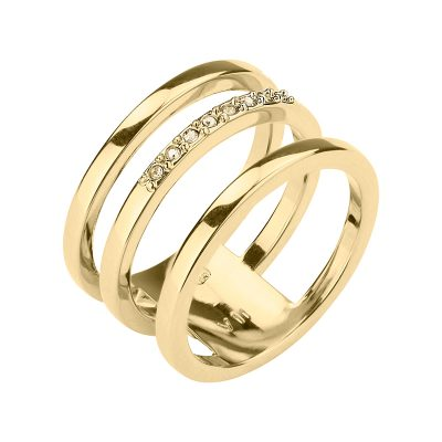 TRIPLETTE Ring, gold plated, gold farbig