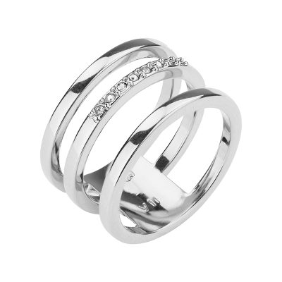 TRIPLETTE Ring, rhodium plated, crystal