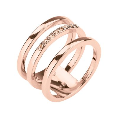 TRIPLETTE Ring, rose gold plated, nude