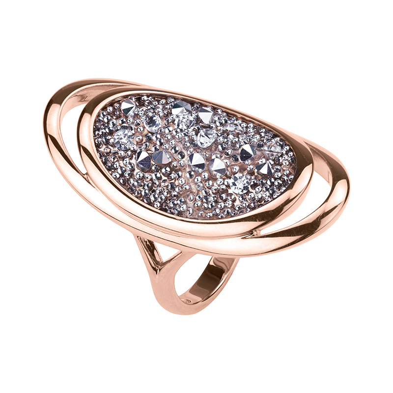 CHARMING HERITAGE Ring, rose gold plated, metallic silver