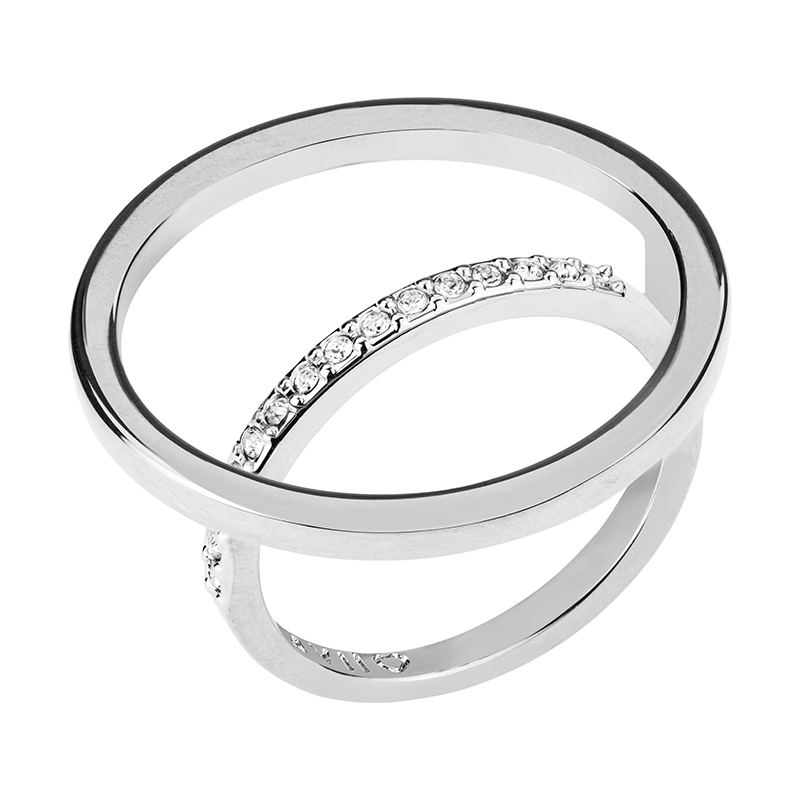 PAGAN DELUXE Ring, rhodium plated, crystal