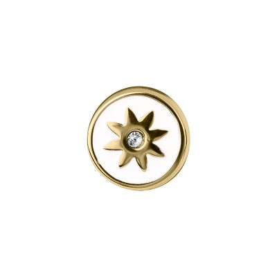 PRALINÉ Motif, gold plated, white, crystal