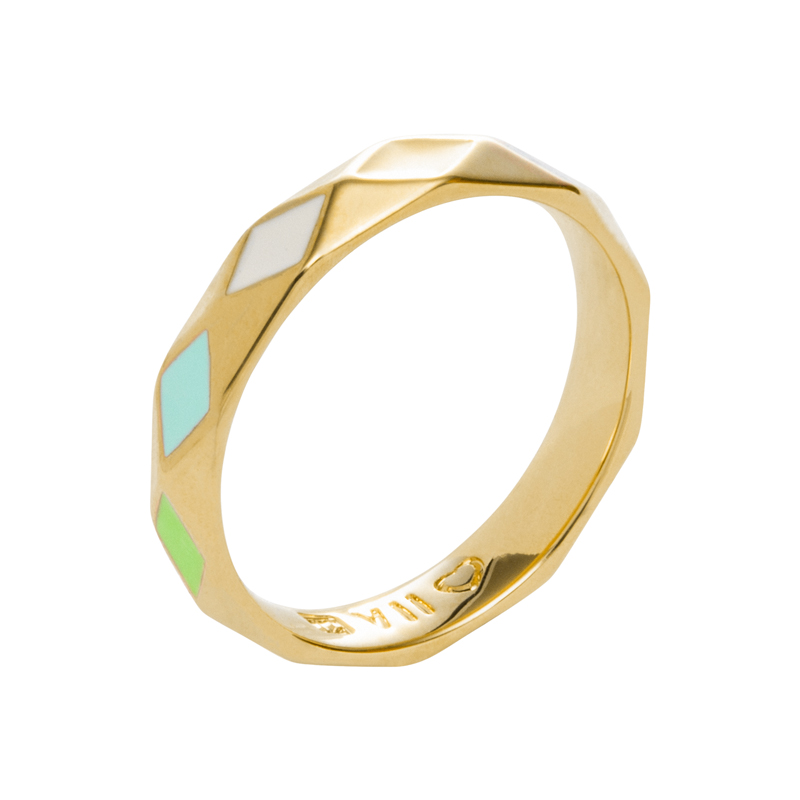 DELIGHT Ring, gold plated, multicoloured