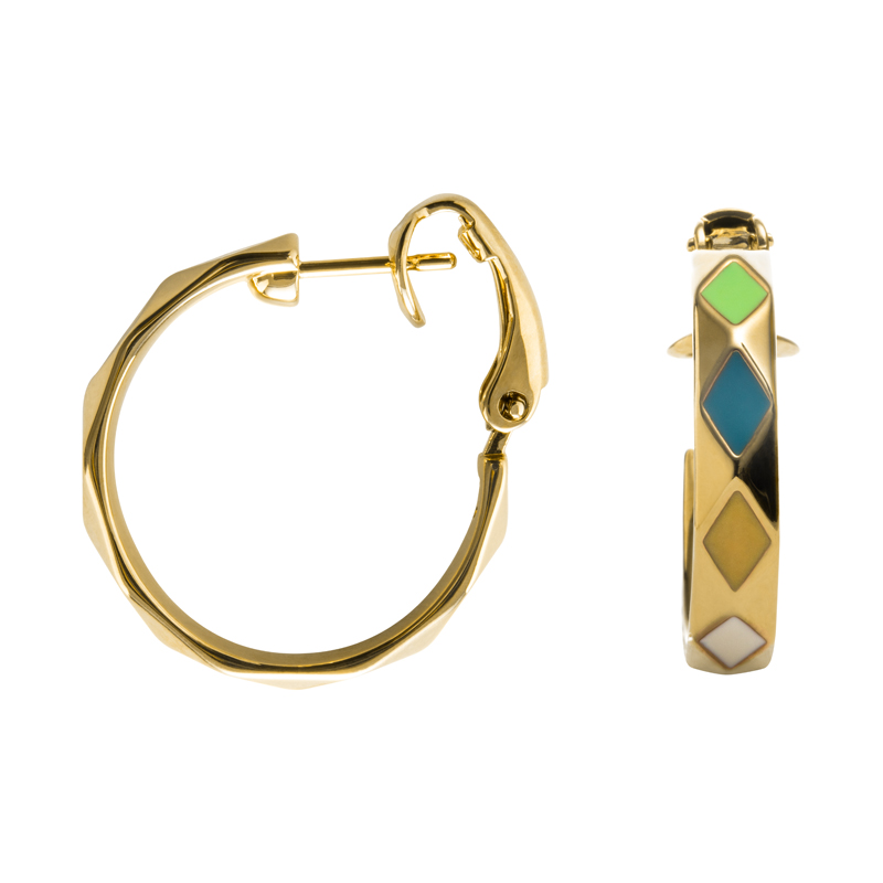 DELIGHT Ear Creoles, gold plated, multicoloured