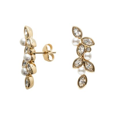 PRIME OF LOVE Earrings, gold plated, white, crystal