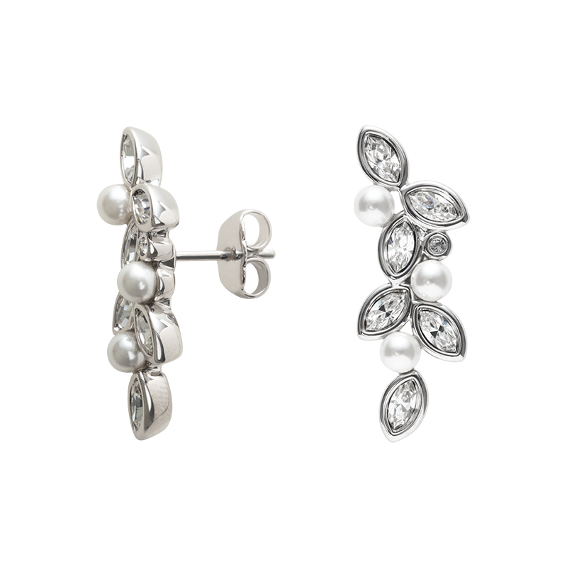PRIME OF LOVE Earrings, rhodium plated, white, crystal