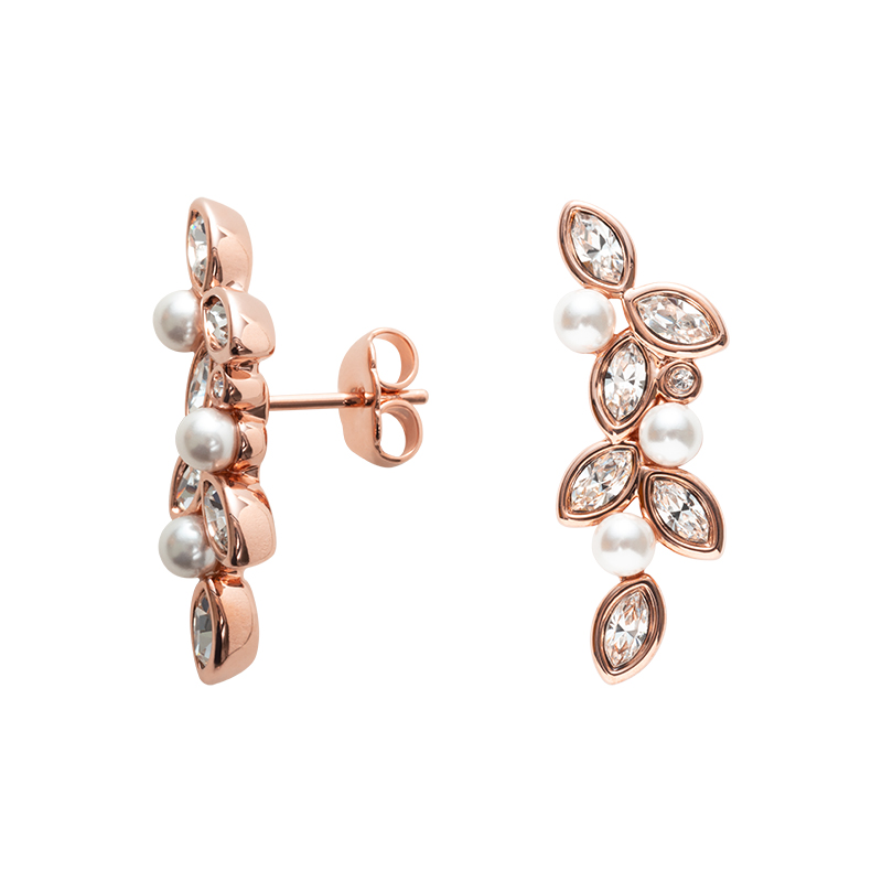 PRIME OF LOVE Earrings, rose gold plated, white, crystal