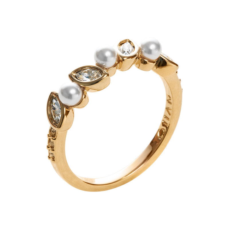 PRIME OF LOVE Ring, gold plated, white, crystal