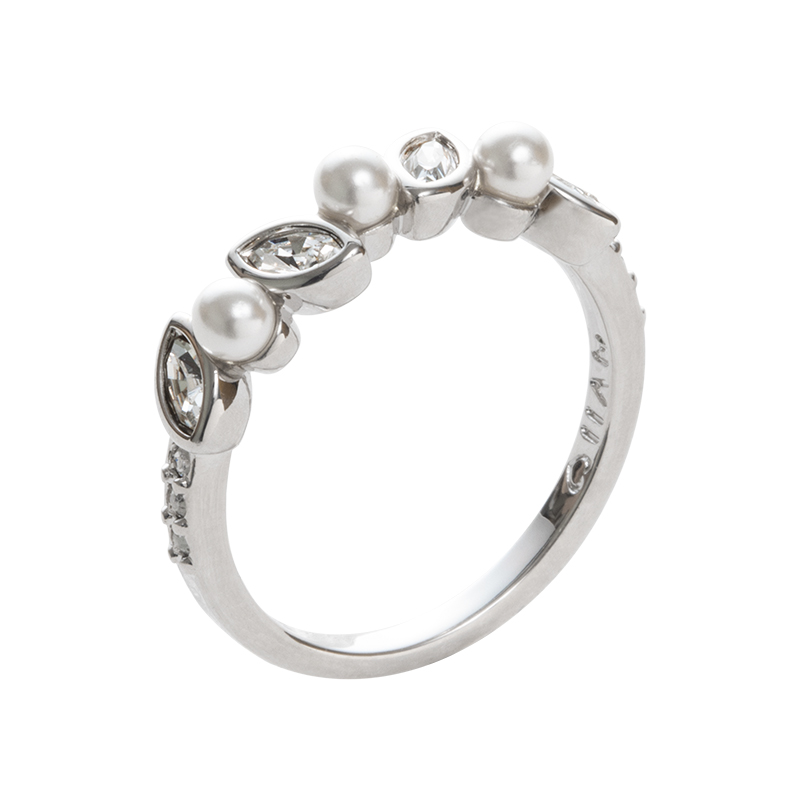 PRIME OF LOVE Ring, rhodium plated, white, crystal