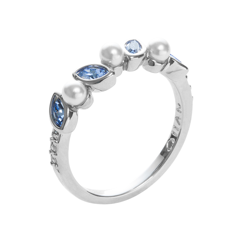 PRIME OF LOVE Ring, rhodium plated, white, light blue, crystal