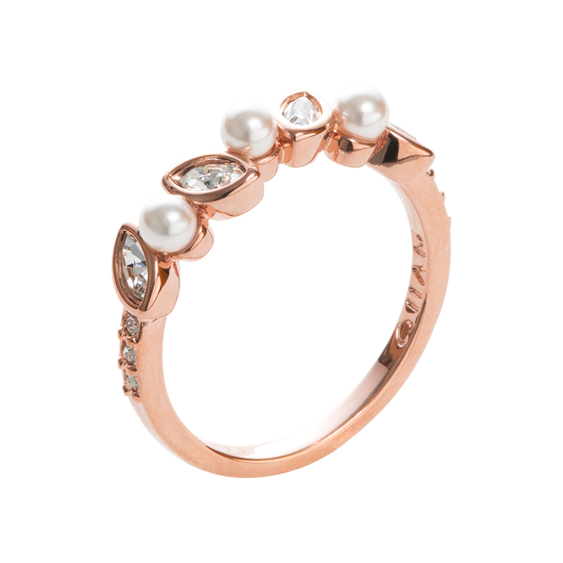 PRIME OF LOVE Ring, rose gold plated, white, crystal