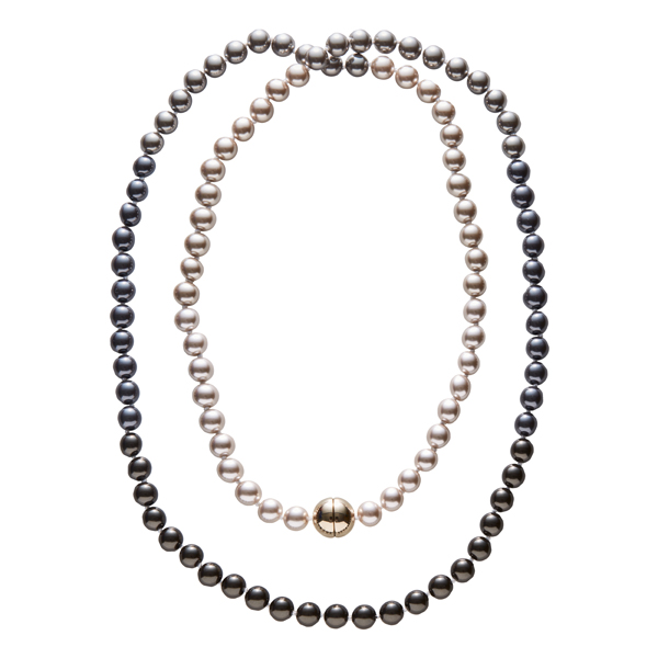 DEEP PEARL Pearl necklace, New, gold plated, multi-brown