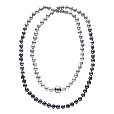 DEEP PEARL Pearl necklace, New, rhodium plated, multi-grey
