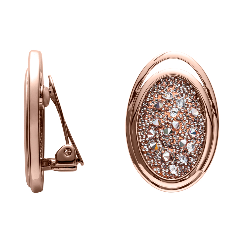 CHARMING HERITAGE Ear Clips, rose gold plated, metallic silver