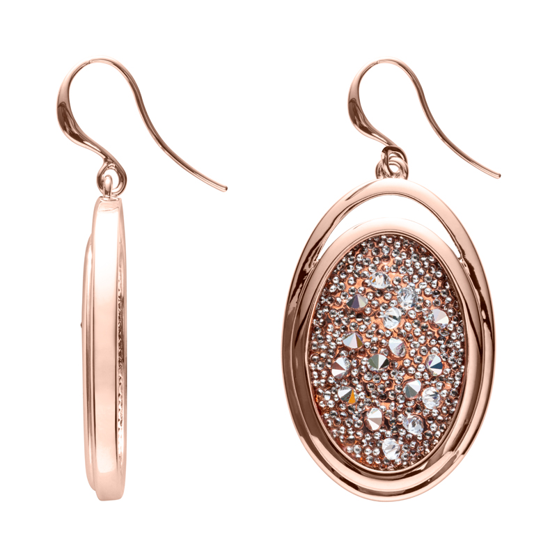CHARMING HERITAGE Earrings, rose gold plated, metallic silver