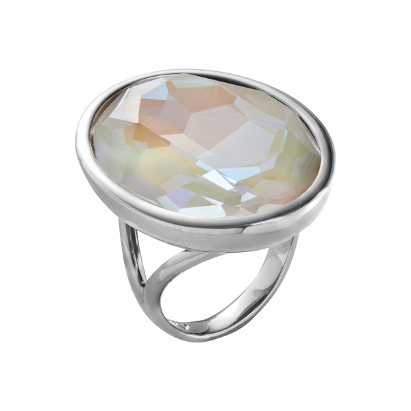IMPÉRIALE Ring, New, rhodium plated, milk opal coloured