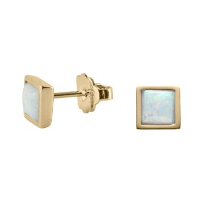 TRINITY Earrings, New, gold plated, opal coloured