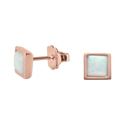TRINITY Earrings, New, rose gold plated, opal coloured