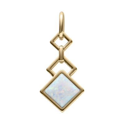 TRINITY Pendant, New, gold plated, opal coloured