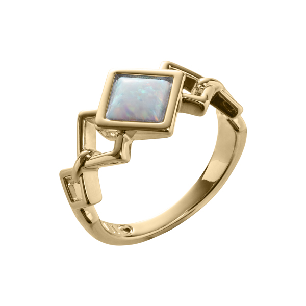 TRINITY Ring, New, gold plated, opal coloured