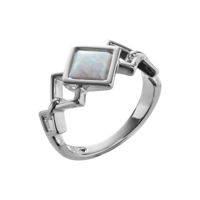 TRINITY Ring, New, rhodium plated, opal coloured