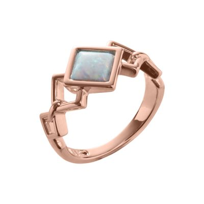 TRINITY Ring, New, rose gold plated, opal coloured