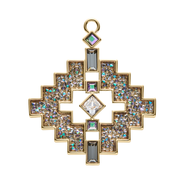 LIAISON Pendant, New, gold plated, multicoloured, brown-green, crystal