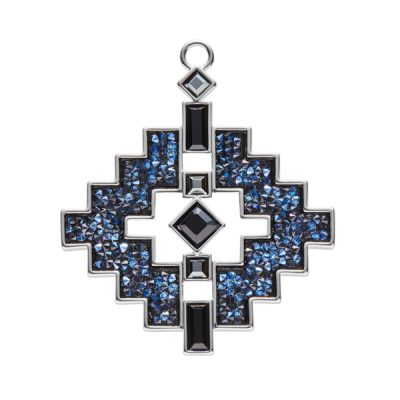 LIAISON Pendant, New, rhodium plated, dark blue, black