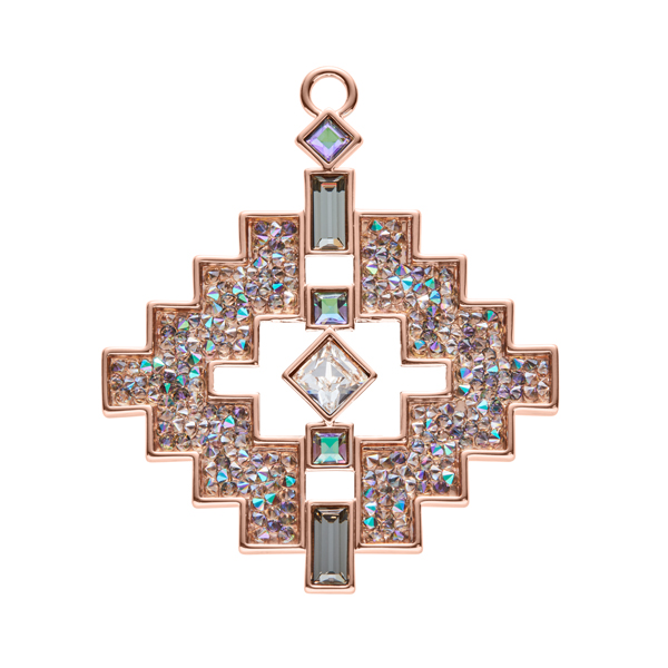 LIAISON Pendant, New, rose gold plated, multicoloured, brown-green, crystal