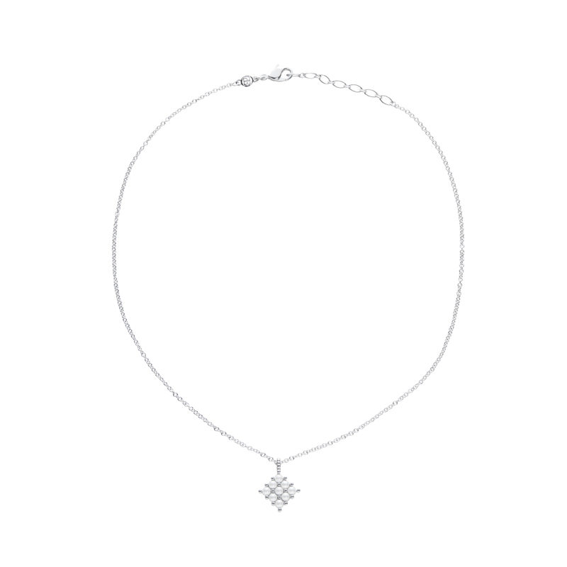 PETITE PEARL Necklace, rhodium plated