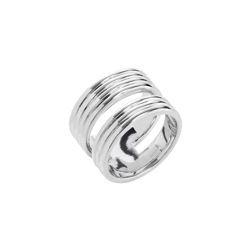 PURE LINES Ring, rhodium plated