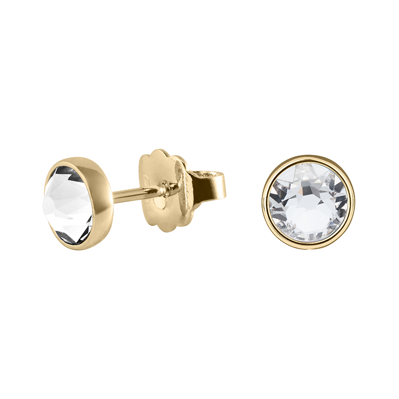 BISCUITS Earrings, gold plated, crystal