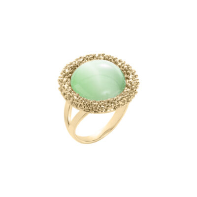 DAHLIA Ring, gold plated, light green