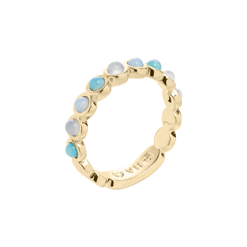 AZURE Ring, gold plated, light turquoise, multicoloured
