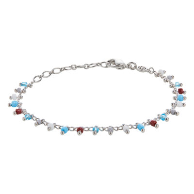 SIA Necklace, rhodium plated, multicoloured