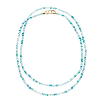 AZURE Collier, gold plated, light turquoise, multicoloured