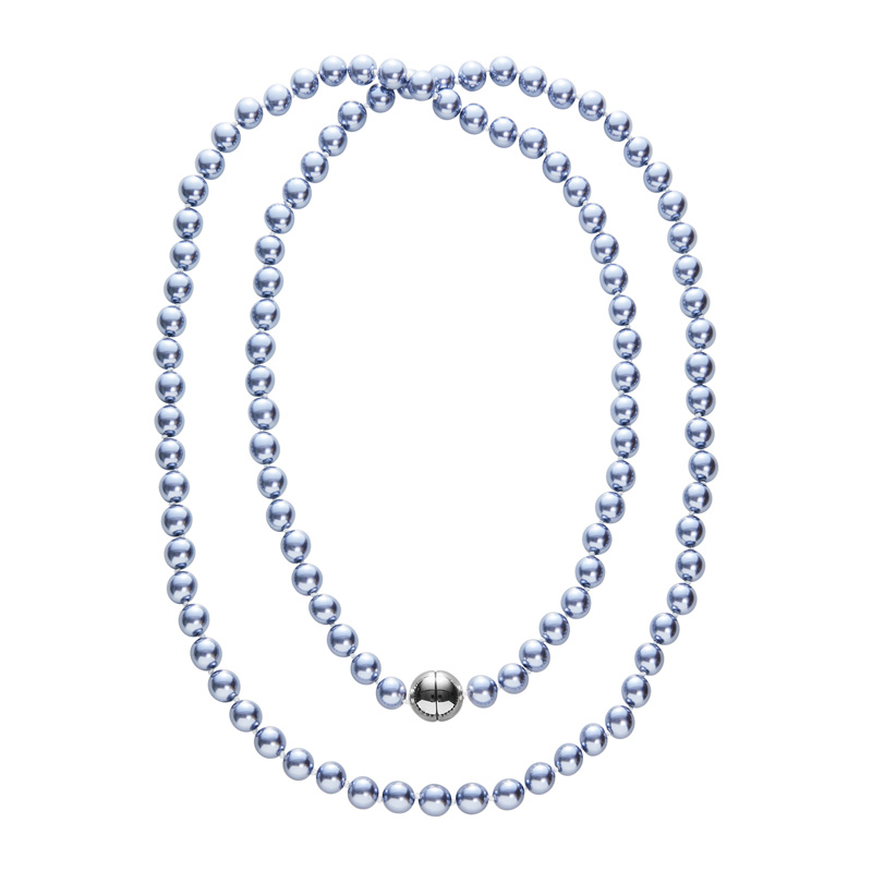 DEEP PEARL Pearl necklace, rhodium plated, blue-grey