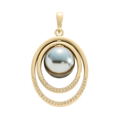 TAMINA Pendant, gold plated, brown-green, gold coloured