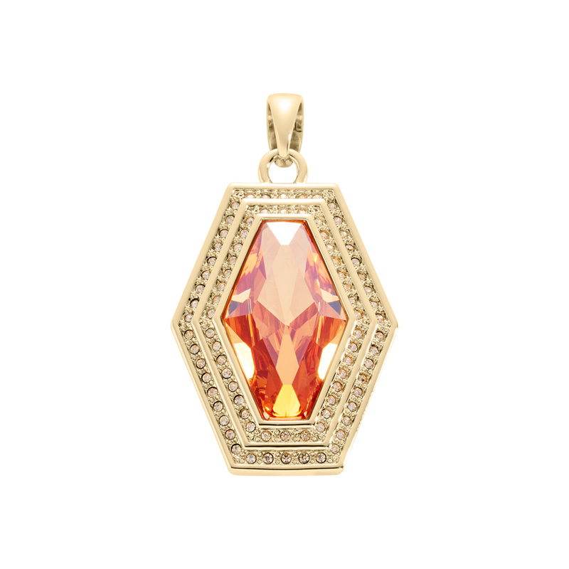 LIVA Pendant, gold plated, topaz-yellow, gold coloured
