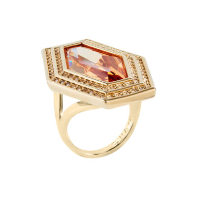 LIVA Rings, gold plated, topaz-yellow, gold coloured