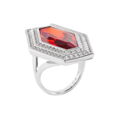 LIVA Rings, rhodium plated, red, cystal coloured