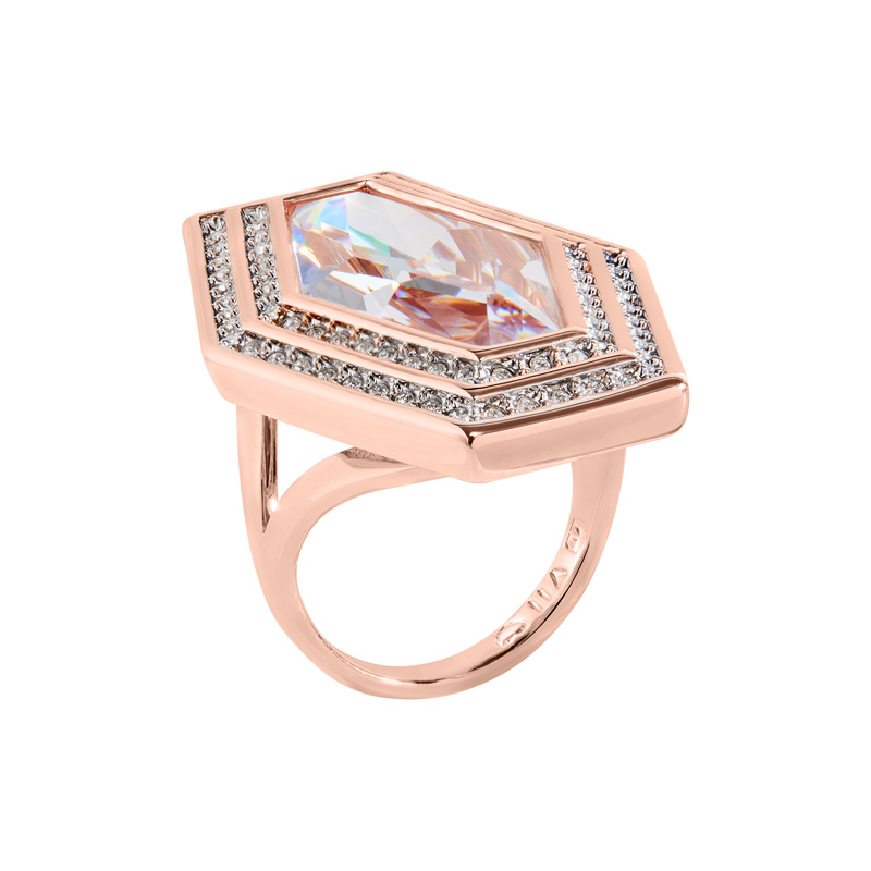 LIVA Rings, rose gold plated, Zirkonia [synthetic stone], cystal coloured